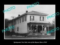OLD LARGE HISTORIC PHOTO OF SPRINGWATER NEW YORK VIEW OF THE HAYNES STORE c1910