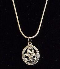 Silver Fleur de Lis Necklace Plated French Flower Nola Saints 18 inch USA Seller