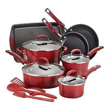 Rachel Ray 14 Piece Set Hard-enamel Cookware Bakeware and Tools Red Gradiant