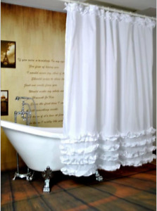 Shower Curtain White Ruffled Princess Dress Design Bathroom Waterproof Fabric