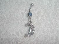 Celestial Moon Charm Belly Button Navel Ring Body Jewelry Piercing