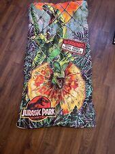 "Vintage 1992 JURASSIC PARK Sleeping Bag 54""x26"" Dilophosaurus Velociraptor Kids"