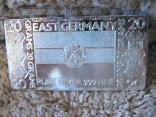 The Silver Mint, 20 grams pure silver .999 fine, EAST GERMANY Ingot.