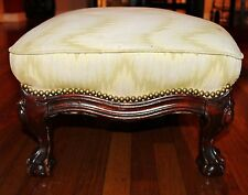 Vintage Victorian Mahogany Ball and Claw Foot Wooden Heavy Sturdy Ottoman