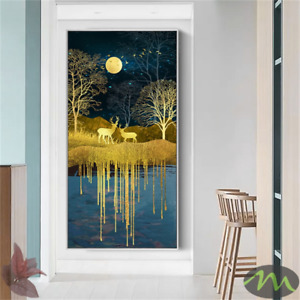 Abstract Golden Moon And Tree Canvas Art Deer Poster And Print Wall Art Decor