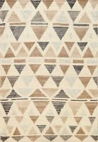 Geometric Modern Moroccan Oriental Area Rug Hand-knotted Ivory Wool 4x6 Carpet