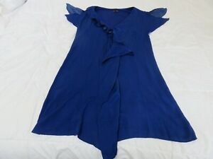PHASE EIGHT PRETTY PURPLE BLUE EASY GOING SOFT CASCADING JERSEY DRESS UK 10 -12