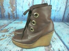f09ba4c7d2a RARE Yves Saint Laurent YSL Brown Leather Lace Up Wedge Ankle Boots 37 / 7