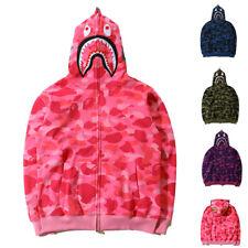 A Bathing Ape Bape Shark Jaw Camo Full Zipper Hoodie Men's Sweats Coat Jacket