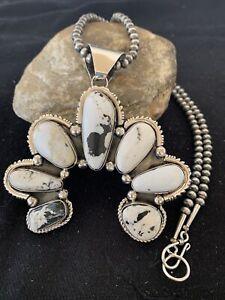 Native American NAVAJO Sterling Silver NAJA White Buffalo Turquoise Pendant 858