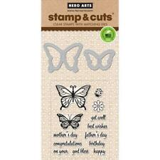 Butterfly Pair Hero Arts Clear Stamp & Cut Thin Metal Die Set DC182 NEW!