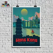 POSTER VINTAGE VIAGGIO TRAVEL HONG KONG CINA  PEARL ORIENT  TOP QUALITY GRAPHICS