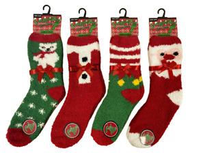 New Women's 4 Pair Ladies Christmas Santa Snowman Elf Soft Fluffy Lounge Socks