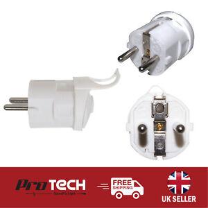 European 2 Pin Schuko Plug 16A Rewireable White EU Euro Mains Plug Connector
