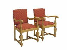 2 Stühle Polsterstühle Antik um 1930 aus Eiche mit rötlichen Stoff (9680)