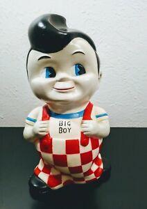 "Vintage Frisch's Big Boy 9"" Tall Rubber Bank With Orange Plug On Bottom"