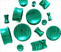 Ear Plugs Double Flare  PAIR Organic Concave Green Malachite Stone Gauges