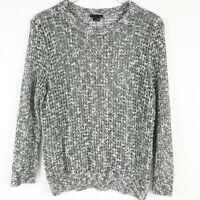 Theory Womens Black White Marled Cotton Linen Loose Knit Pullover Sweater Large