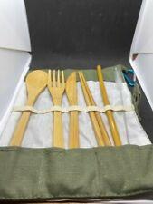 KRESBOT Bamboo Cutlery Flatware Tableware Set Portable Reusable 2-Pack