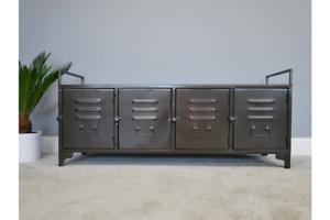 Industrial Metal Low Four Door Storage Cabinet