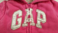 GIRLS FUR LINED HOODED BABY GAP PINK LOGO JACKET 0/3 MOS