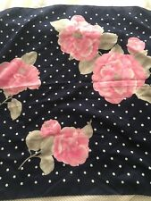 Glentex Made in Italy Vintage Navy Blue White Polka Dot Pink Flower Square Scarf