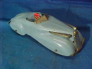 "1930s WYANDOTTE Pressed Steel ROADSTER Toy CAR w TIN Litho DRIVER 6"""