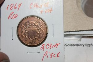 1864   RED   CHOICE+++  TWO CENT PIECE