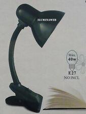 FLEXO PINZA NEGRO E27 LED 9w 2700-4000-6500k Lampara escritorio, cama, mesa