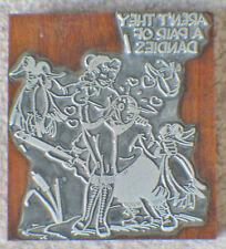 Wooden Plated Printer Block Stamp , Cartoon Character