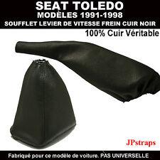SEAT TOLEDO 1991-1998 SOUFFLET LEVIER DE VITESSE FREIN -  100% CUIR NOIR