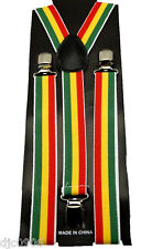 Unisex Rasta Green/Yellow/Red Jamician Adjustable Y-Style suspenders-New in Pkg