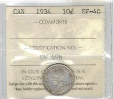 TMM* 1934 George V Silver Dime Canada EF