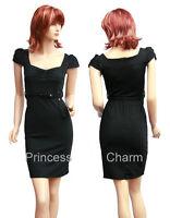 Teal Career/Pencil/Shift Dress for Work Cap Sleeves Self Belt Size 8 10 12 14