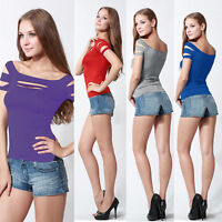 Sexy Women Bust Hole Exposure Chest Hollow Out Slim Tops Clubwear T-Shirt Blouse