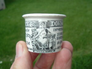 Antique Victorian Holloway`s Ointment Pot Gout & Rheumatism Cure London.