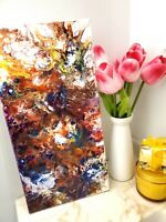 ORIGINAL ABSTRACT POUR PAINTING ACRYLIC 10X20'' MODERN ART