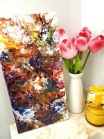 ORIGINAL ABSTRACT ART POUR PAINTING ACRYLIC 10X20'' MODERN ART HANDPAINTED