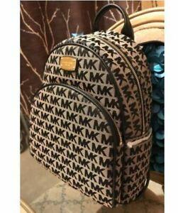 NWT Michael Kors Abbey Beige Black Backpack School Book Bag MK-HOT!!!