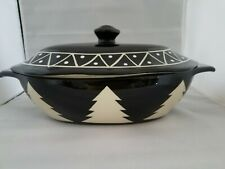 RARE MESA HOME PRODUCTS BLACK WHITE CHRISTMAS TREE OVAL CASSEROLE BAKING DISH
