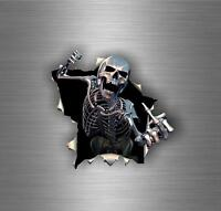 Autocollant sticker voiture tuning moto tete de mort skull biker motard bomb