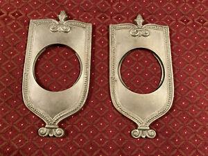 Pair Deco Door Knob Backplates, Nonmagnetic Cast Metal, Pineapple Crown, Free Sh