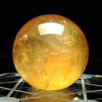 40MM Yellow Natural Citrine Quartz Crystal Sphere Ball Heal Reiki Gemstone Decor