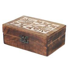 Decoración Caja de Madera Tesoro arcón MARRÓN 155mm x95mm REGALO