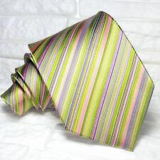 Necktie green silk striped tie Made in Italy Morgana brand business / wedding