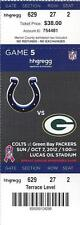 2012 NFL PACKERS @ COLTS FULL UNUSED FOOTBALL TICKET - ANDREW LUCK ROOKIE