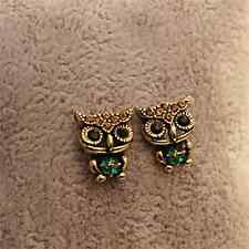 Stylish Lovely Owl Rhinestone Crystal Compact Lady Fun Gift Ear Stud Earrings