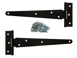 Pair Of Black Tee Hinges Heavy Duty Shed Gate Door T Hinge Large 8 INCH & Screws