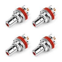 4PCS Red RCA Female Socket Chassis Connector Rhodium Plated Copper Jack UK
