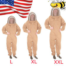Cotton Full Body Bee Keeping Suit Veil Hood Protective Equipment Khaki L/Xl/Xxl